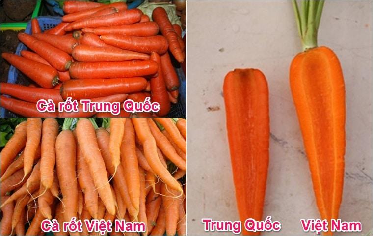 cách phân biệt cà rốt Việt Nam và Trung Quốc